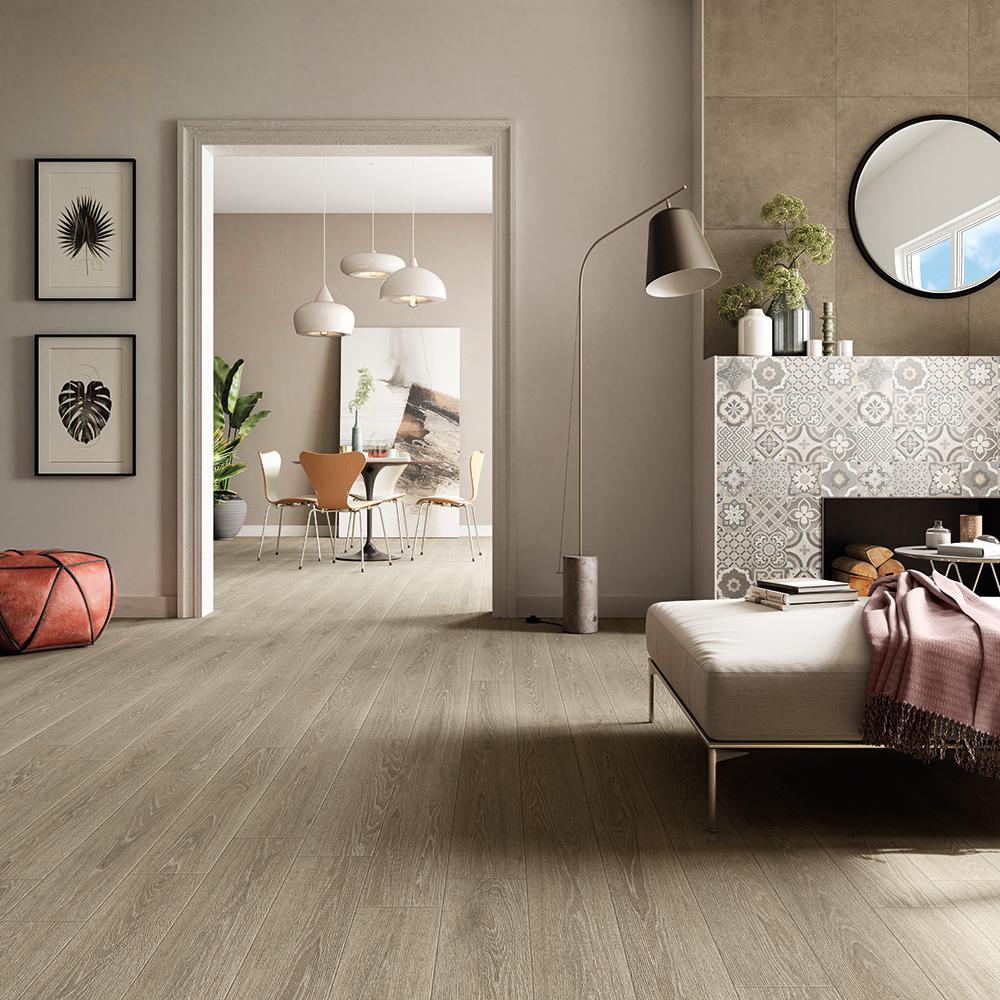 Progetto: WALL Cemento Sabbia 60x60, Cemento Decoro Cementine 60x60, FLOOR Legno Sabbia 15x90